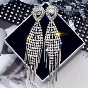 "3.13"" Silver Dangle Drop Earrings"